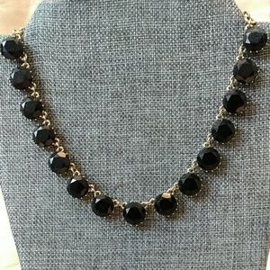 Jewelry - Gold tone black jeweled statement necklace